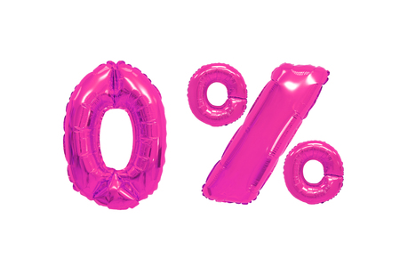 zero percent from pink color balloons on isolated background. discounts and sales Stock Photo