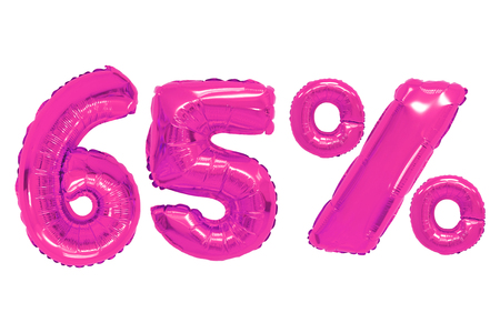 sixty five percent from pink color balloons on isolated background. discounts and sales