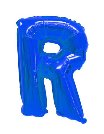 Letter R English alphabet blue of balloons on a white background
