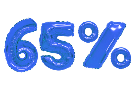 sixty five percent from dark blue color balloons on isolated background. discounts and sales