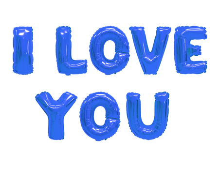 Word i love you in english alphabet from dark blue balloons on a white background. holidays and education. Stock Photo