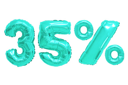 thirty five percent from turquoise color balloons on isolated background. discounts and sales Stock Photo