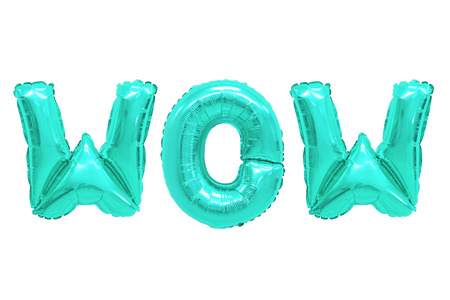 Word wow in english alphabet from turquoise balloons on a white background. holidays and education. Stockfoto