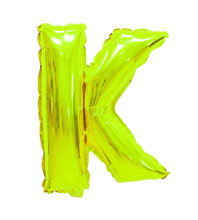 Letter K English alphabet lime color of balloons on a white background