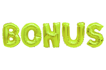 Word bonus in english alphabet from lime color balloons on a white background. holidays and education.