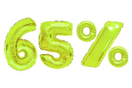 sixty five percent from lime color balloons on isolated background. discounts and sales Stock Photo