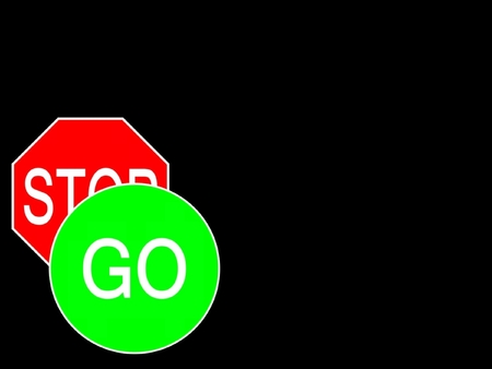 contradict: sign go stop Stock Photo