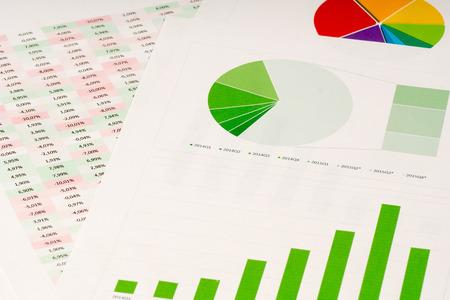 bar charts: múltiples pastel de color y gráficos de barras verdes