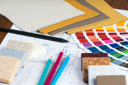interior project with colorfull palette, material samples, pencils