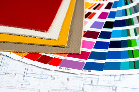 interior project with colorfull palette, leather samples and calculator