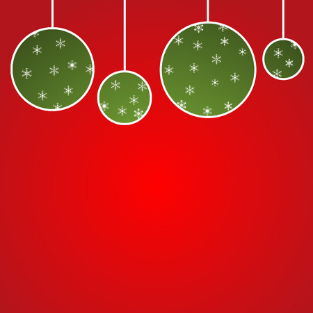 new year christmas background - green balls on red 2 Zdjęcie Seryjne - 51514590
