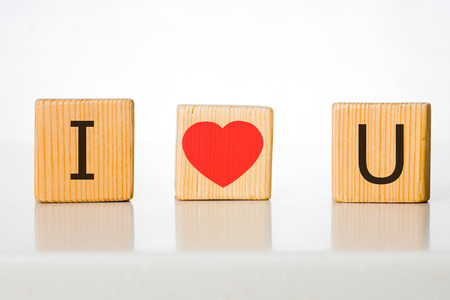 horisontal: Valentines day abstract background - Horisontal wooden cubes with i love you message