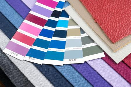 pantone: colorful fabric and leather samples with pantone Stock Photo