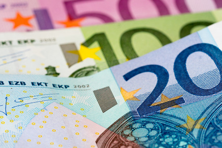one hundred euro banknote: 20, 100 and 500 euro closeup