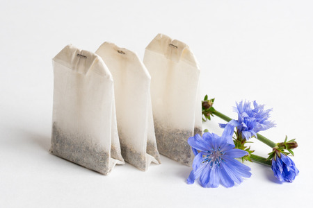 chicory coffee: three tea bags with chicory on white