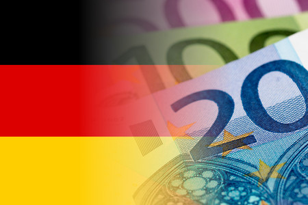 germany flag with euro banknotes mixed image