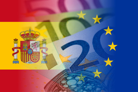 spain and eu flags with euro banknotes mixed image