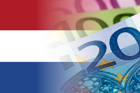 netherlands flag: netherlands flag with euro banknotes mixed image