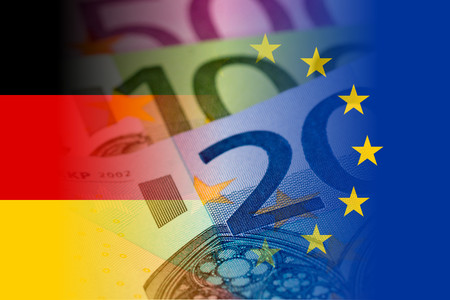 credit union: germany and eu flags with euro banknotes mixed image