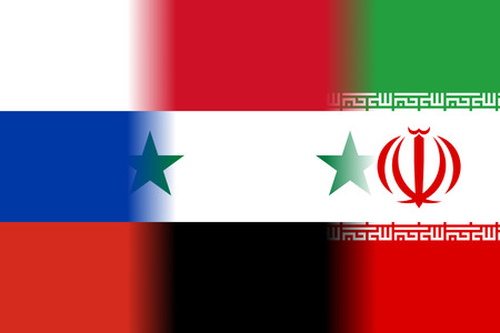 middle east conflict: russia syria iran mixed flags