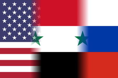 armistice: usa syria russia mixed flags
