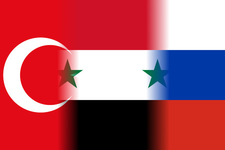 middle east crisis: turkey syria russia mixed flags