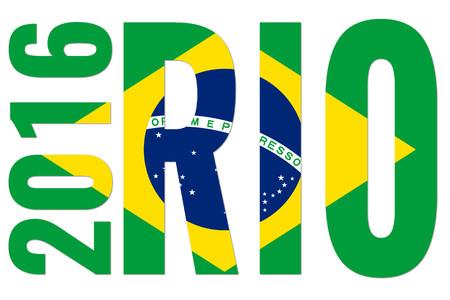 rio: rio 2016 - brazil flag on white background Editorial