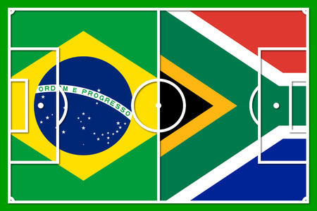 africa outline: brazil south africa - football field outline