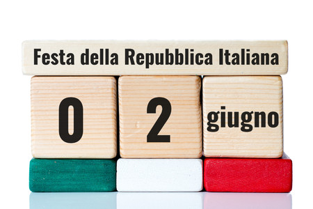 exultation: italy independence day wooden blocks calendar Stock Photo