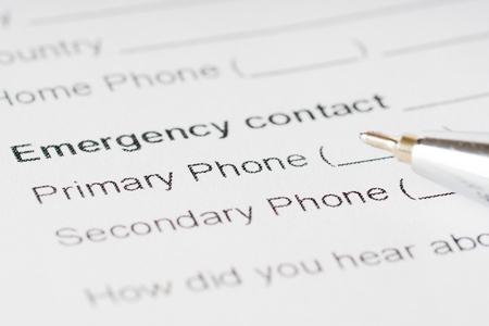 emergency plan: emergency plan paper sheet with phone number