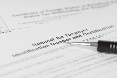 taxpayer: taxpayer number request form with black pencil