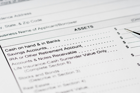 financial statement: personal financial statement assets form with black pencil Stock Photo