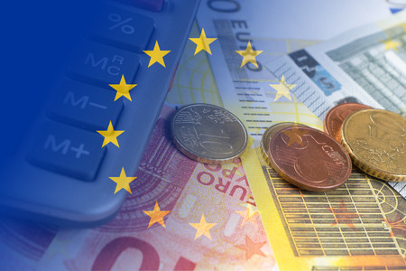 hypothec: euro banknotes, coins, calculator, eu flag