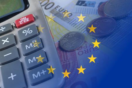 hypothec: euro banknotes, coins, calculator, eu flag