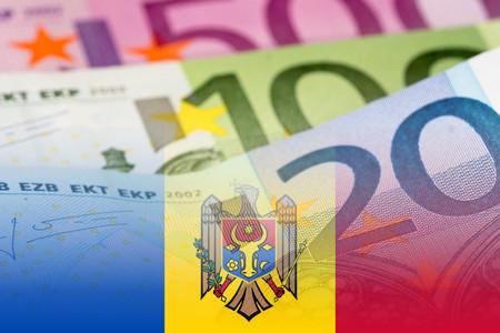 credit union: moldova flag with euro banknotes mixed image