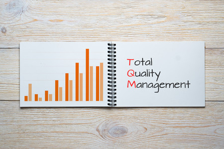 total quality management bar chart concept Stock Photo