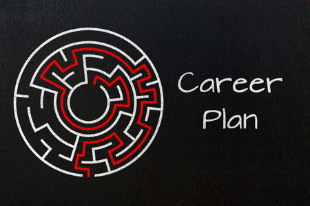 trajectory: career plan concept on black chalkboard Stock Photo