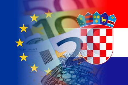 croatia flag: eu and croatia flag with euro banknotes mixed image