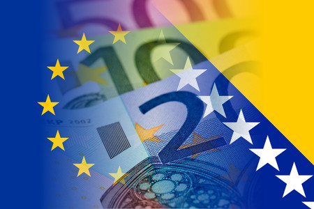 eu and bosnia and herzegovina flag with euro banknotes mixed image Stock Photo