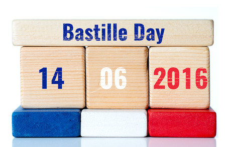 bastille: bastille day on wooden blocks Stock Photo