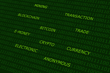 decentralized: bitcoin terms cloud green abstract background