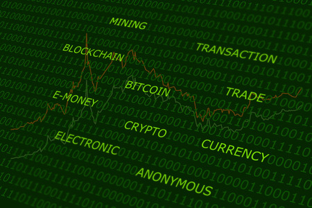 bitcoin terms cloud green abstract background
