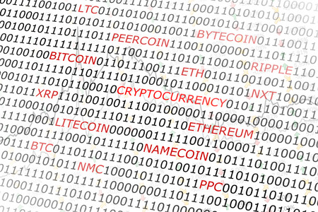 crypto: crypto currency terms cloud white abstract background