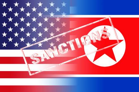 usa north korea flags, sanctions white stamp Stock Photo
