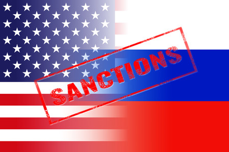 penalty flag: usa russia flags, sanctions red stamp Stock Photo