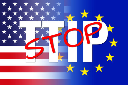 unification: usa eu flags, white ttip red stop