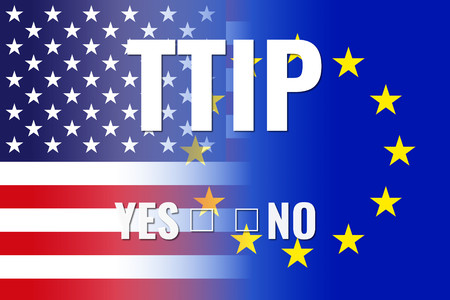 yes no: usa eu flags, white ttip with yes no choice