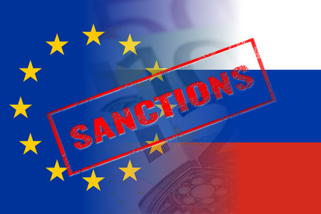 sanction: eu russia flags, sanctions red stamp Stock Photo
