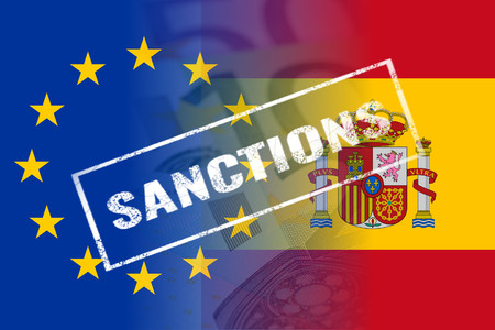 eu spain flags sanctions white stamp stock photo picture and
