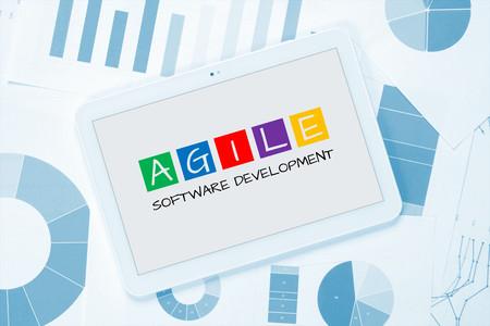 agile software development on tablet pc concept